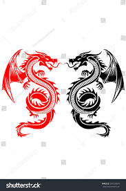 black red tribal dragon tattoo vector stock vector 364202816