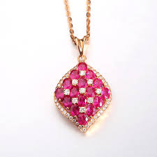 pink ruby necklace images Robira luxury fine jewelry 18k rose gold squre shape pendants jpg
