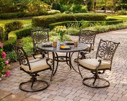 Swivel Rocker Patio Furniture Sets - hanover traditions 5 piece outdoor dining set with swivel rocker