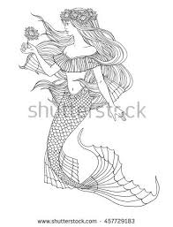 vector images illustrations cliparts hand drawn mermaid