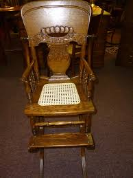 Antique Nursing Sewing Rocker Small Star Pattern Seat Antique Vintage Oak High Chair Rocker Press Back Cane Seat