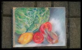 drawing fruit and vegetables in colour negative space drawing
