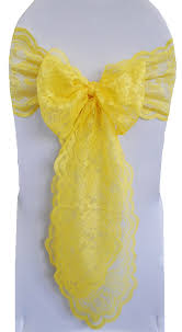 yellow chair sashes canary yellow lace wedding chair sashes lace chair bow ties