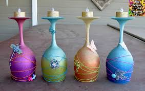 spring dream wine glass candle holders