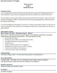 Interest And Hobbies For Resume Samples by Personal Assistant Cv Example Icover Org Uk