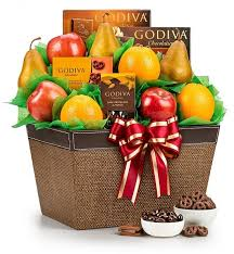 chocolate gift basket fresh fruit and godiva chocolates fruit gift basket