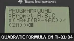 program ti 83 84 calculator to solve quadratic formula youtube