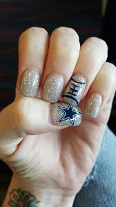 dallas cowboys nfl nails navy blue silver glitter features a
