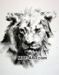 charcoal drawing of a lion animal portrait art gallery