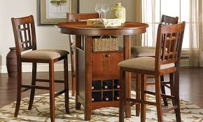 mission oak casual pub height dining set haynes furniture