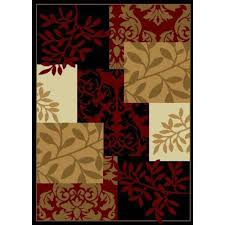 well woven miami fall espresso patchwork leaves 5 ft x 7 ft
