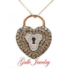 heart lock pendant necklace images Pen01145 champagne diamond heart lock pendant jpg