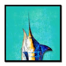 Home Blue Fish Blue Marlin Fish Head Art Aqua Home Decor Wall Art Nautical Beach