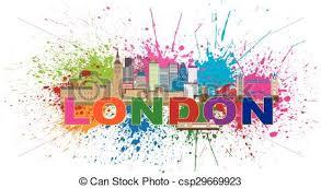 vector illustration of london skyline paint splatter color text