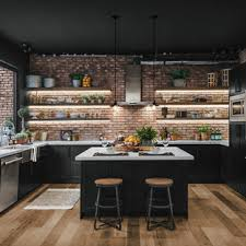 kitchen backsplash ideas black cabinets 75 beautiful kitchen with black cabinets and brick