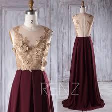2016 rose gold lace bridesmaid dress long wine chiffon wedding