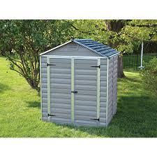 palram skylight double door plastic shed grey 6 x 5 ft wickes