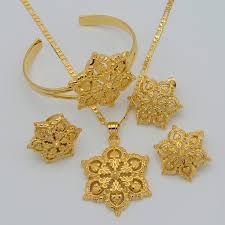 gold flowers necklace images Aliexpresscom buy gold flowers set jewelry women 22k necklace jpg