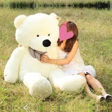 big teddy white color cuddly stuffed animals plush teddy