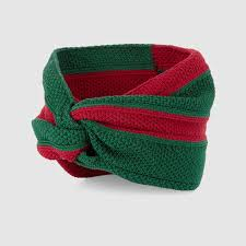 green headband lyst gucci web cotton headband in green