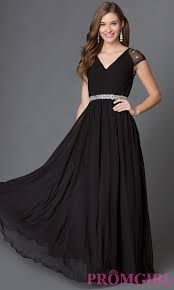 long v neck prom dress with cap sleeves promgirl