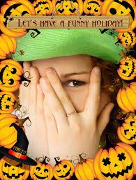 pumpkin photo frame for kids to make funny halloween card