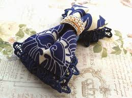 navy blue lace ribbon inakabeads workshop handmade fabric flower jewelry wedding
