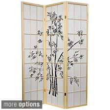 Bamboo Room Divider Handmade Wood And Rice Paper Flower Blossom 3 Panel Room Divider