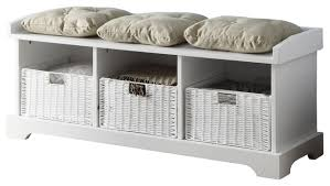 White Bench With Storage Amazing White Bench Storage Inside With Baskets Prepare