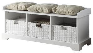 White Bench With Storage Amazing White Bench Storage Inside With Baskets Prepare
