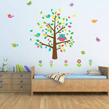 Owl Wall Sticker Owl And Birds Tree Scene Wall Sticker By Mirrorin