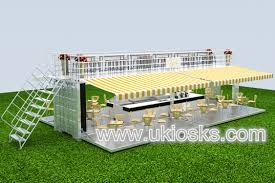 white 40 ft outdoor food container kiosk restaurant for sale