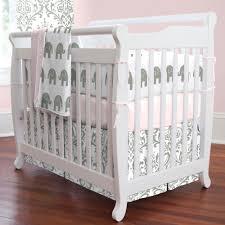 Mini Baby Crib Pink And Gray Elephants 3 Mini Crib Bedding Set Carousel