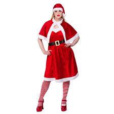 ladies christmas elf santa claus xmas womens fancy dress