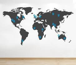 World Map Wall Sticker by Personalised World Map Wall Sticker Map Of The World Wall