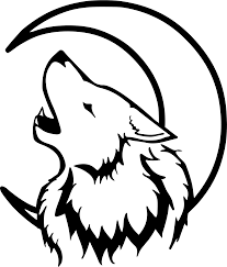 clipart crescent moon wolf