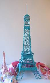 lovely turquoise teal aqua eiffel tower centerpiece