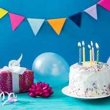 cake and gift with balloon photo free download