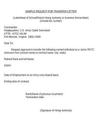 sle letter sle letter for transfer request sle letter for transfer to