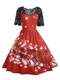 christmas cocktail party dress plus size lace panel father christmas midi party dress in red 5xl