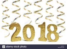 new years streamers new years 2018 golden numbers with shiny streamers isolated on