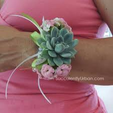 pink corsage prom corsage pink succulents