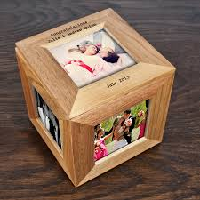 personalized keepsake boxes personalised oak photo cube keepsake box by thelittleboysroom