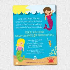 mermaid birthday party invitation printable under the