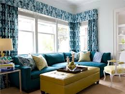 Colored Ottoman Blue Printed Curtain And Yellow Colored Ottoman Coffee Table Ideas