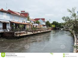 river with colonial dutch style houses melaka malaysia editorial