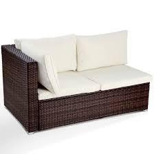 canapé résine tressée canapé d angle en résine tressée avec coussins 130 x 71 x 63 cm