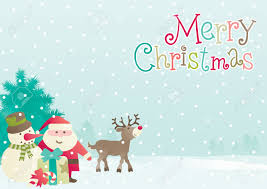 merry vector background of santa snowman reindeer