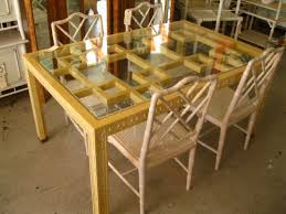 vintage glass top dining table fretwork dining table 2720 circa who
