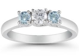 aquamarine and diamond ring three diamond and aquamarine ring 14k white gold